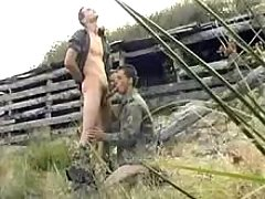 Military twink gives head his lover