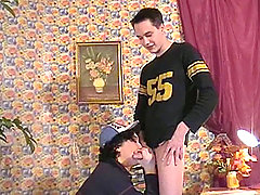 Two young twinks give each other a good handjob to climax!